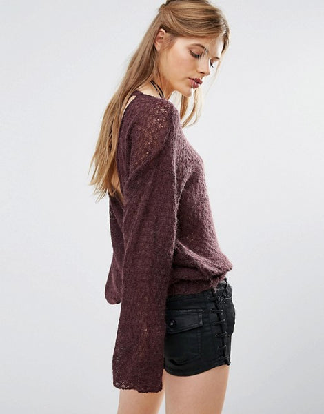 Free People Brandywine Slouchy Drape Back Sweater Merlot S