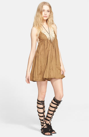 Free People Breathless Boho Mini Lace Crochet Baby Doll Dress Martini Olive M