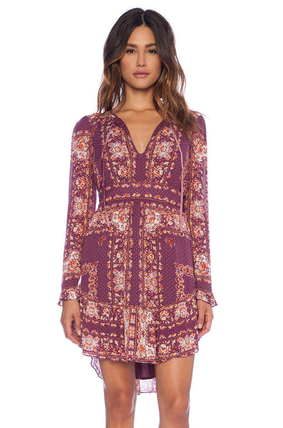 Free People Bridgette Paisley Print Ruffle Peasant Dress Berry Purple S