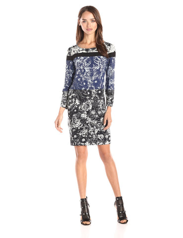 BCBG MAXAZRIA Calico Caviar 3/4 Sleeve Floral Color-block Shift Dress XS