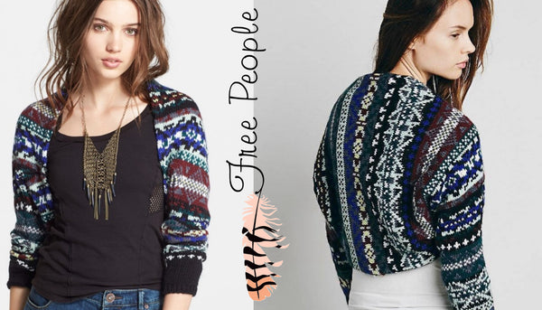Free People Fair Isle Carnival Shrug Bolero Sweater Blue Combo