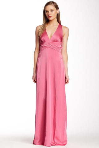 BCBG MaxAzria Crisscross Open Back Halter Style Pink Cerise Evening Dress L 12