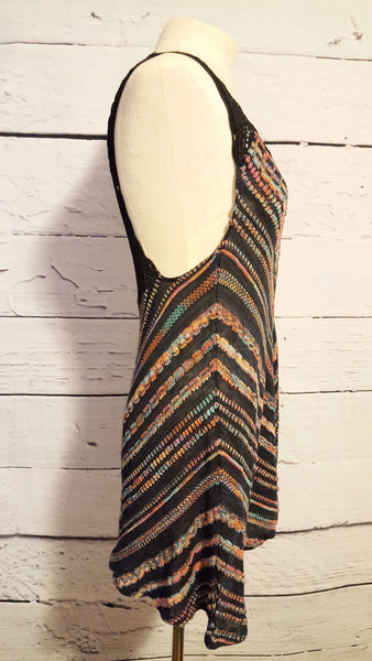 Free People Rainbow Chevron Crochet Racerback Tunic Mini Dress XS