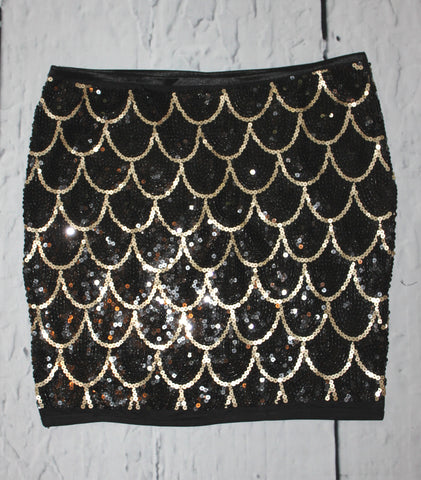 Christina Love Scallop Black & Gold Sequin Bodycon Stretch Pencil Mini Skirt M