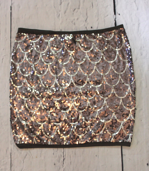 Christina Love Scallop Rose Gold Sequin Bodycon Stretch Pencil Mini Skirt L
