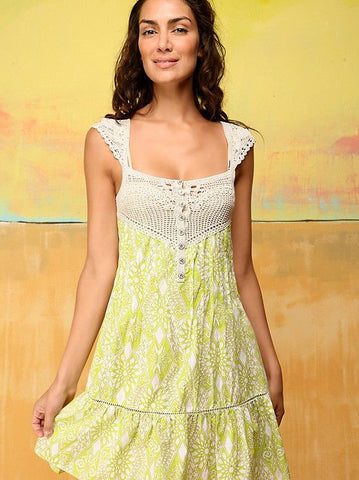 Free People Coastline Crochet Open Back Flutter Cap Sleeve Dress Lime S 6