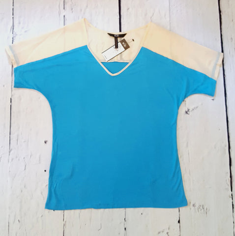 BCBG Paris Colorblock V-Neck Tee Aqua Blue with Cream Sheer Shoulders XS