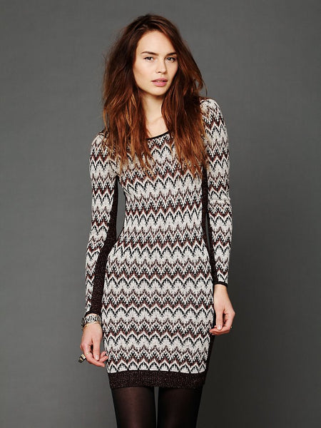 Free People Cozy Cabin Metallic Chevron Low Back Sweater Dress M