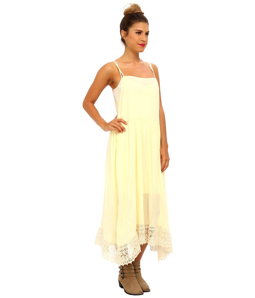 Free People Crochet Hem Bohemian Slip Dress Pale Lemon Yellow S