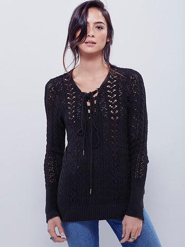 Free People Cross Ties Lace-Up Cut Out Pullover Sweater Black S