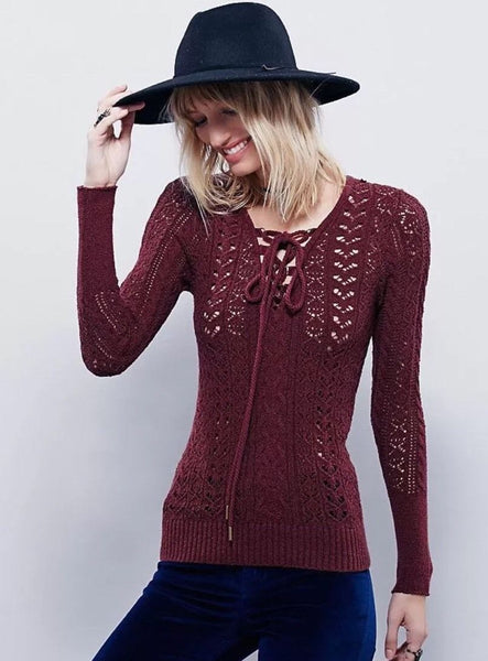 Free People Ginger Cross Ties Lace-Up Cut Out Pullover Sweater Raspberry XS