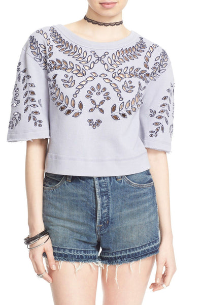 Free People Crumpette Cropped Off Shoulder Eyelet Sweatshirt Lavender Frost M