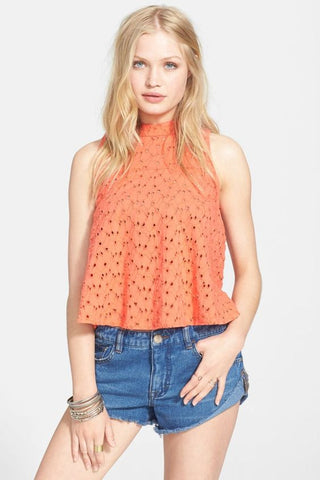 Free People Cupcake Mali Eyelet Swing Open Back Tank Crop Top Red Orange