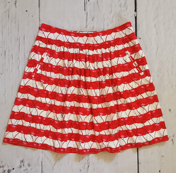 Cynthia Rowley Flirty Red Cherry Striped Gathered A-Line Flare Skirt XS 2