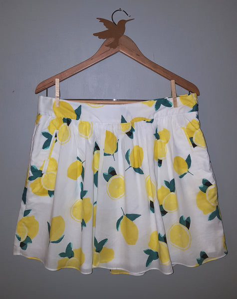 Cynthia Rowley Lemon Drop A-Line Flare Skirt L 12