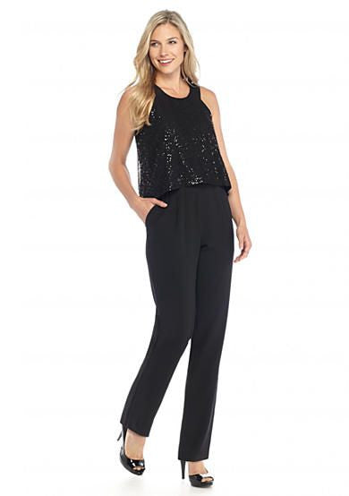 Cynthia Rowley Sleeveless Sequin Mesh Overlay Pant Jumpsuit Black