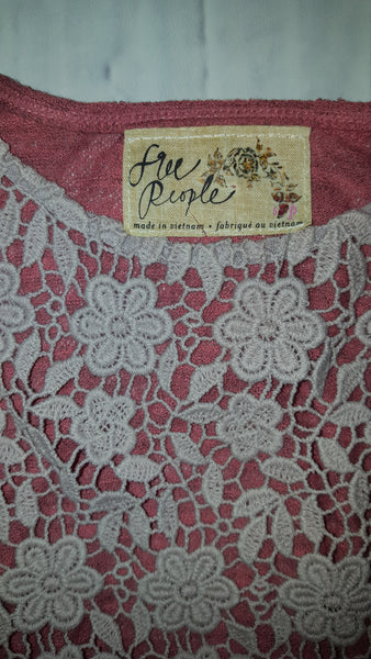 Free People Daisy Lace Front Raglan Long Sleeve Crop Top Berry Lavender Combo S