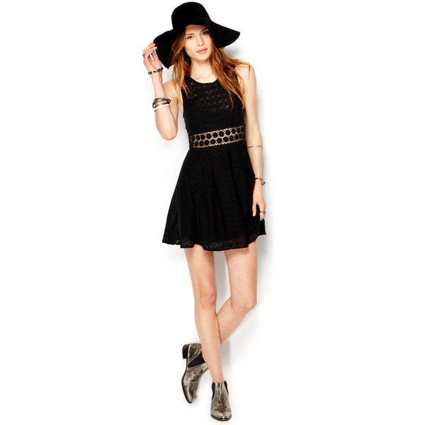 Free People Fitted With Daisies Daisy Waist Black Dress