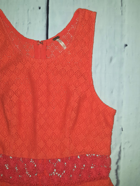 Free People Fitted With Daisies Daisy Waist Fit Flare Dress Orange S 6
