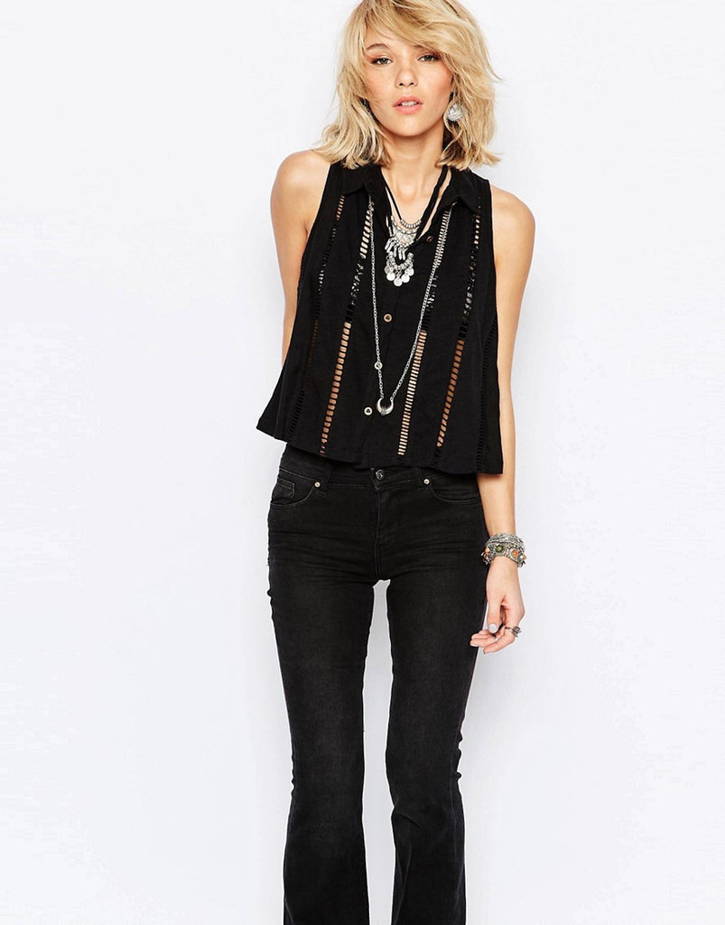 Free People Toosaloosa Slub Dandy Button Front Cut Out Crop Top Black XS