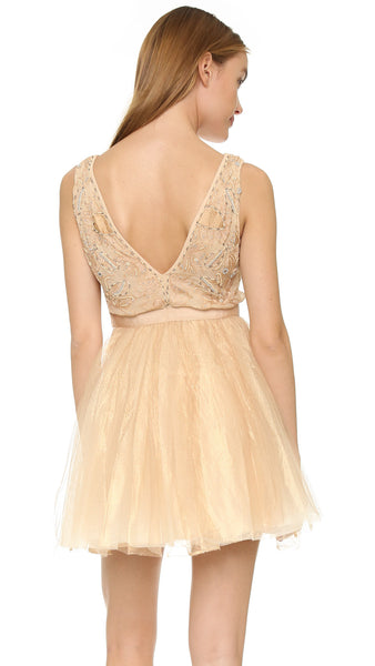 Free People Deja Vu Beaded Embellished Tulle Rose Gold Mini Dress L 10