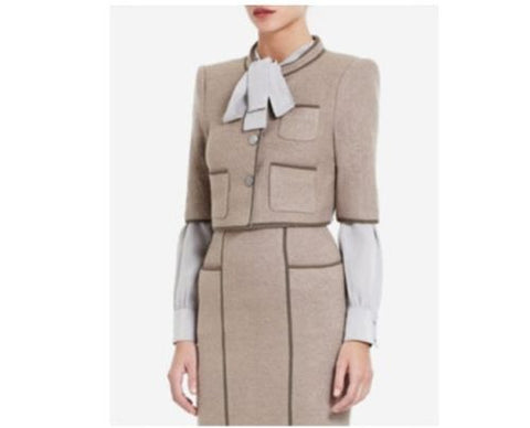 BCBG MAX AZRIA Dickenson Cropped Wool Jacket Pencil Skirt 2-Piece Suit Gravel XS
