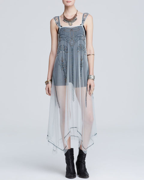 Free People Embellished Beaded Mesh Art Deco Maxi Slip Dress Blue Dove Gray XS