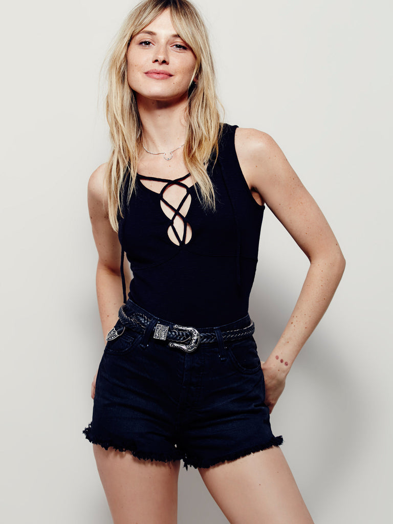 Free People Emmy Lou Lace Up Ribbed Tank Top Black S