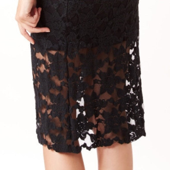 Free People Everything Rosey Black Lace Illusion Midi Pencil Skirt S