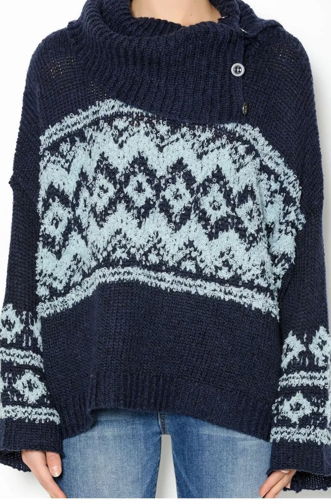 Free People Fair Isle Cowl Split Neck Envelope Sweater Blue Mint S ...