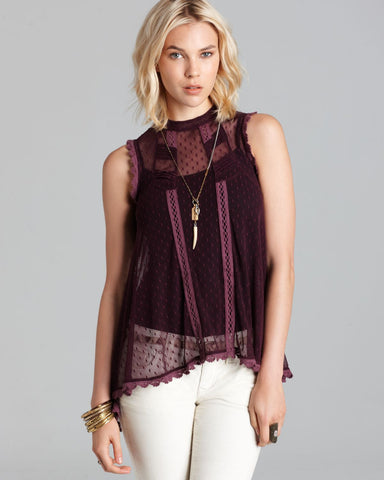 Free People Fiona Dear Brigette Victorian Dot Mesh Lace Crotchet Top Purple XS