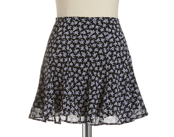 Michael Kors Sea Orchid Black White Floral Chiffon Flounce Fluted Skirt L 12