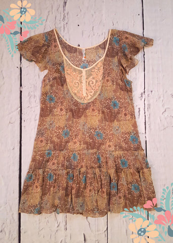 Free People Vintage Style Floral Sheer Chiffon Flutter Sleeve Tiered Dress S 6