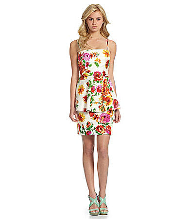 Betsey Johnson Ivory White Mulit Floral Peplum Spaghetti or Strapless Dress S 4
