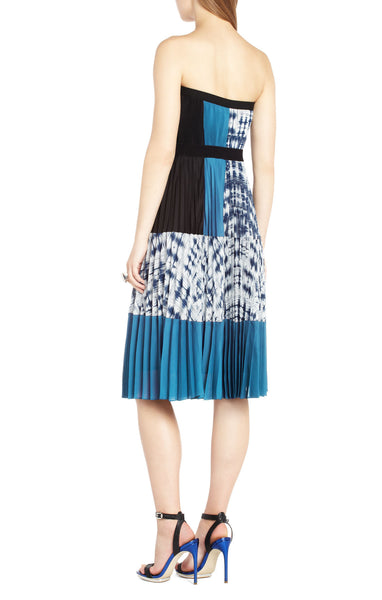 BCBG Maxazria Georgetta Pleated Blouson Strapless Midi Dress Blue White XXS