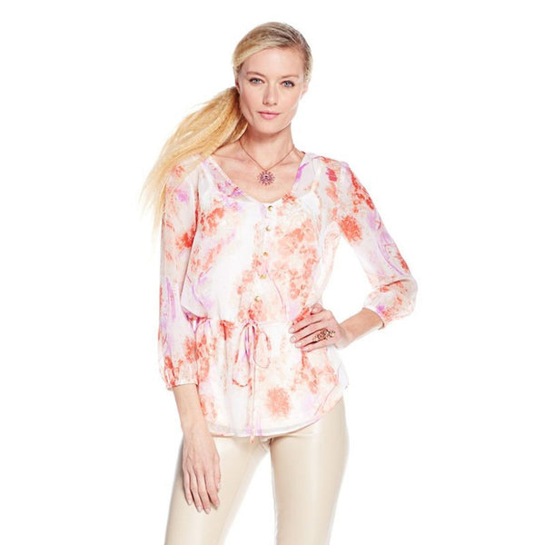 Giuliana Rancic Sheer Chiffon Peplum Camisole Top Red Pink Floral XS
