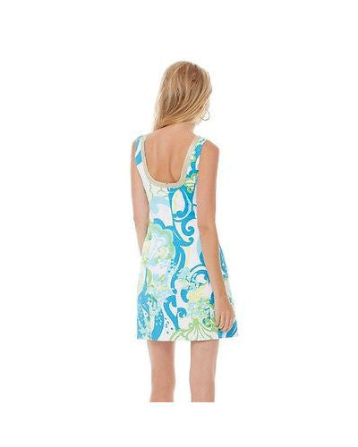 Lilly Pulitzer Janice Shift Dress Resort White Crystal Coast Blue Green L 10