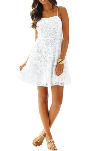 Lilly Pulitzer Jennilee Sundress Resort White Trellis Lace S