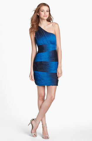 Max and Cleo by BCBG Karen Shimmer Ombre Ruched One Shoulder Dress Blue S 6