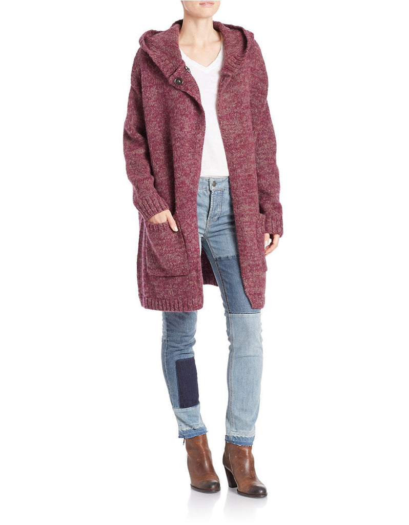 Free People Hooded Knit Cardigan Sweater Coat Heathered Berry Purple XS fits L