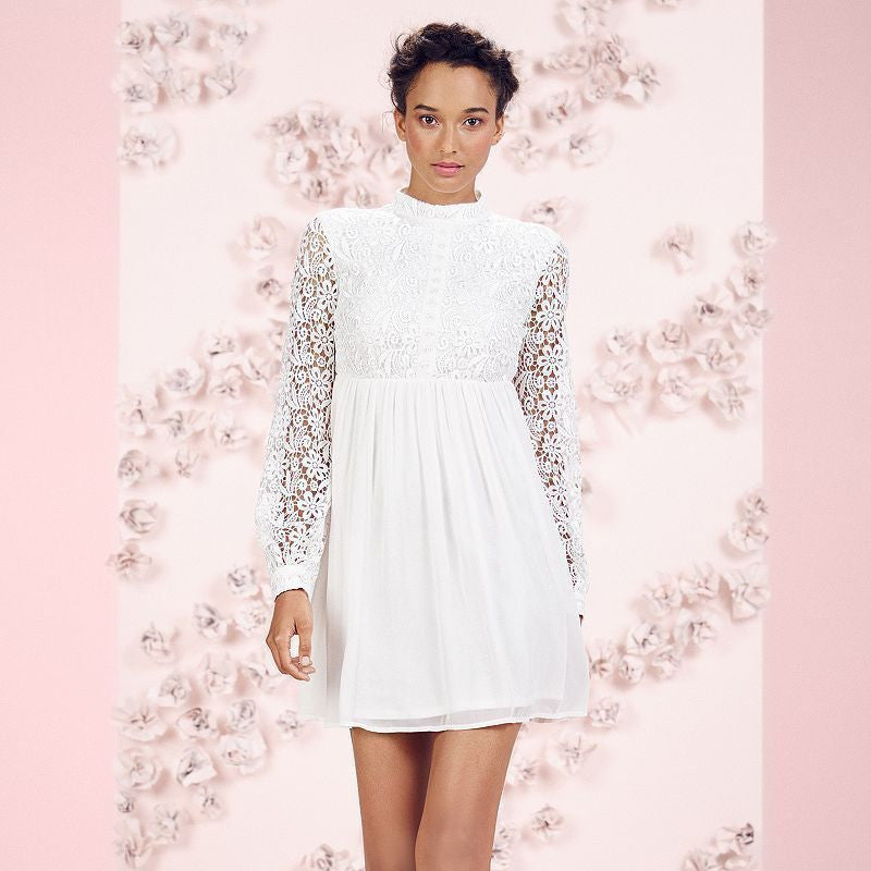 Lauren Conrad Runway Collection Lace Chiffon Babydoll Mini Dress Ivory White S 6