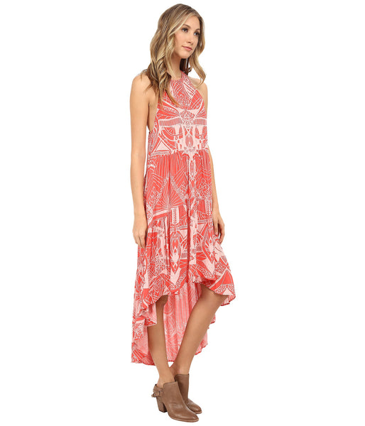 Free People 60's Rayon Voile La Mar Printed High Low Dress Hot Coral Pink S