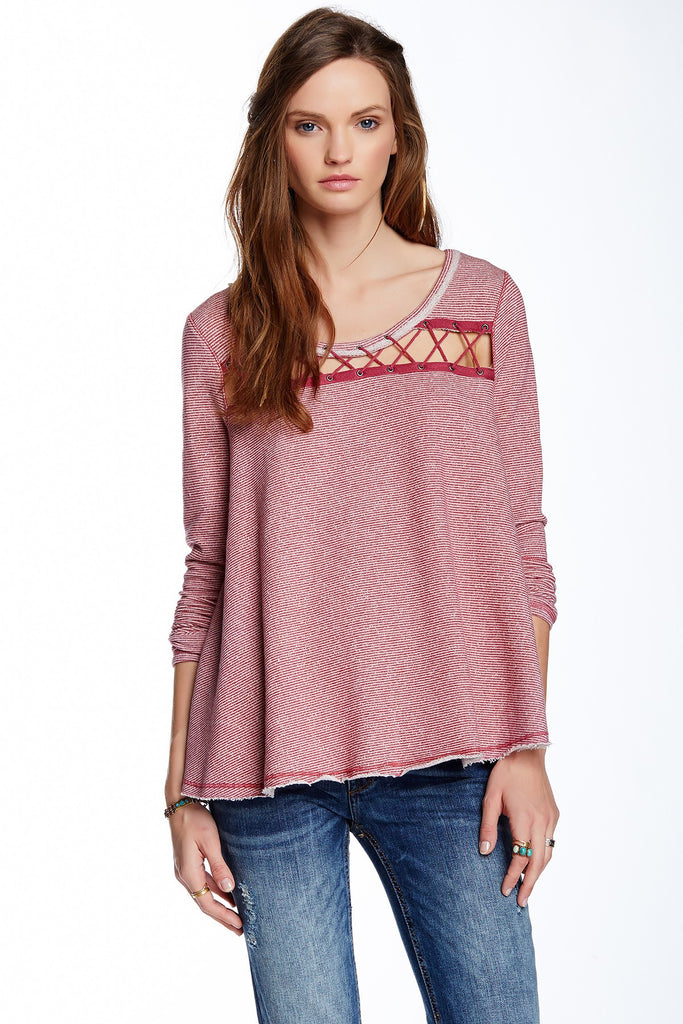 Free People Lacey Love Striped Lace Up Trapeze Pullover Sweatshirt Berry Red S