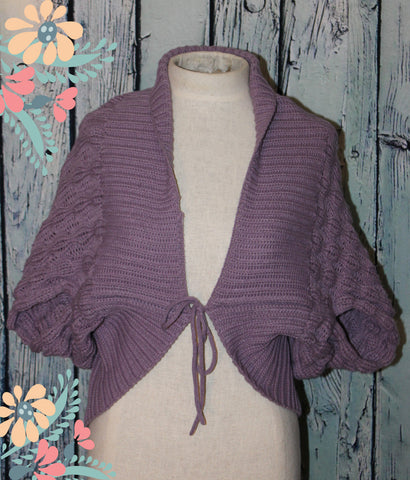 BCBG Max Azria Cropped Bolero Shrug Dolman Jacket Cable Knit Lavender Purple M