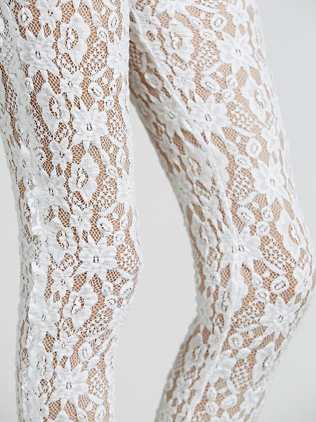 Free People Lazy Lace Sheer Legging White M