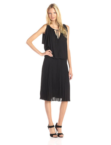 BCBGMAXAZRIA Lona Blouson Cold Shoulder Plisse Pleated Drape Black Dress XS
