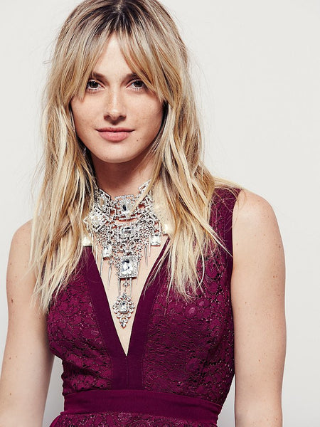 Free People Lovely in Love Lace Fit and Flare Dress Berry S