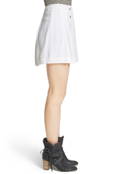 Free People Lovers Lane Nautical Pleated Mini Skirt White L 12