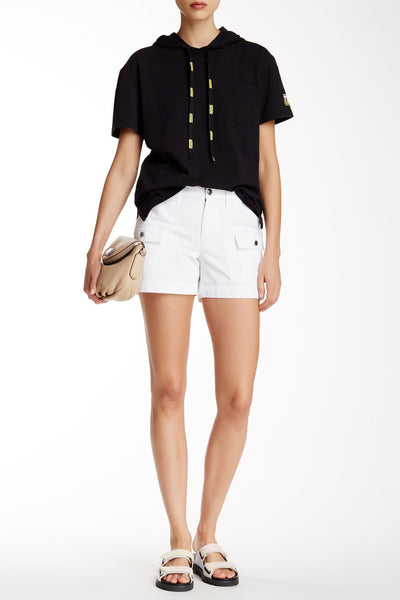 Marc by Marc Jacobs Womens White Herringbone Cargo Patch Pocket Shorts XS 0