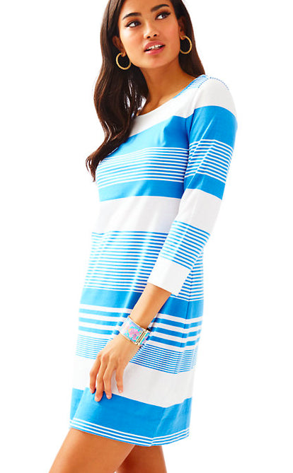 Lilly Pulitzer Marlowe Bay Blue Coconut Stripe Boatneck T-Shirt Dress XL